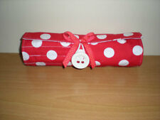 SALE 10% OFF  Makeup travel brush roll red white polka dots Handmade NEW cotton