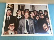 FOTO ORIGINALE DI GIORGIO ALMIRANTE CON GIANFRANCO FINI ANNI '80 IN CORNICE