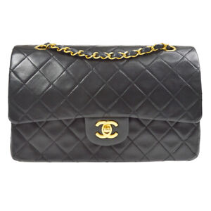 CHANEL Classic Double Flap Medium Chain Shoulder Bag 0793606 zmg Black 38282