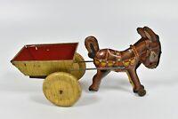 Vintage Tin Litho Balky Mule Wind Up Farm Horse Mule Cart Marx Buggy Wagon