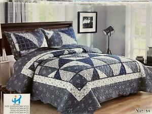 Quilted Cotton 3 Piece Comforter Bed Throw Set Double Kingsize Grey Bedspread