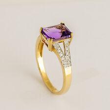 NATURAL AMETHYST RING GENUINE DIAMOND 9K 375 GOLD SIZE P FEBRUARY BIRTHSTONE NEW