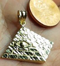 "GOLD pyramid eye pendant Egyptian 10k charm 3D  2.2g 1.10"""