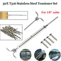 "50 T316 SS Stainless Steel Tensioner Set w/Deck Toggle for 1/8"" Cable Railing US"