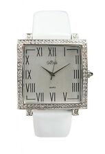 Bob Mackie Women's Silver-Tone Crystal & Patent Leather Watch M7425SX. Mint!