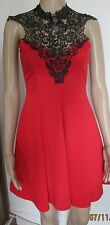 NWT SIZE 8 RED/BLACK LACE DETAIL HALTER NECK SKATER DRESS
