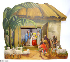 Vintage Paper Fold-Out Christmas Diorama Nativity Scene