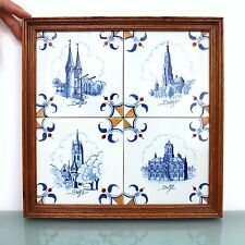 Vintage Dutch DELFT BLUE TILES MATCHING SET! UNDAMAGED! TOP! Ceramic Netherlands