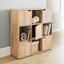 Oak Finish 9 Cube 5 Door Wooden Storage Unit Display Shelving Book Shelves Shelf