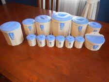 Vintage Art Deco Iplex Blue/Cream Bakelite Canister Set 13pcs
