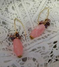Pink Beads and Small Swarovski Crystal Beads Earrings