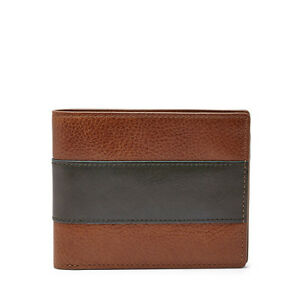 NEW-FOSSIL CHARLES COGNAC BROWN+OLIVE GREEN LEATHER BIFOLD MEN'S WALLET