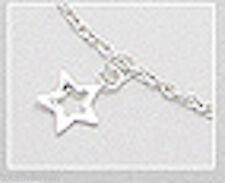 "9-10"" Solid Sterling Silver Ankle Bracelet Multi Star Anklet 2.53g So Pretty"