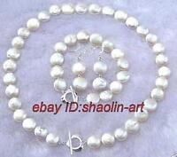 11-13mm pièce blanche perle Boucles d'oreilles bracelet collier parure