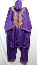 African Clothing 3PCs Men Pants Set Traditional Dashiki Vintage Plus Size Purple