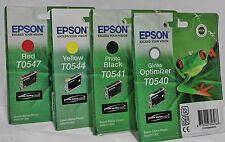 EPSON RANA ORIGINALE STYLUS r800 1800 Cartuccia di inchiostro Bundle t0540 t0541 t0544 t0547
