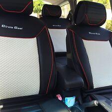 Seat Cover Shift Knob Belt Steering Wheel Black White PVC Leather Luxury 33071 b