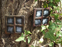 Pair of Stone Fairy Windows Square Design Perfect to accompany your fairy door o