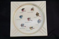 Mid Century Porcelain FLY FISHING Decorative Art Hyalyn? USA Cigar Ashtray