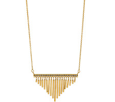 "Stainless Steel Fringe Necklace with Crystal Accent - Goldtone 26""L QVC"