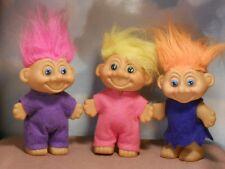 SALE! Lot of 3 Vintage Toymax Talking Luv-a-Hug TROLL DOLLS: felt outfits