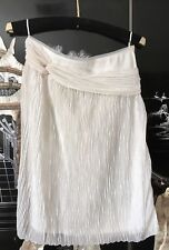 NWOT Alberta Ferretti White Accordion Knee Length 62% Silk 38% Poly Skirt S
