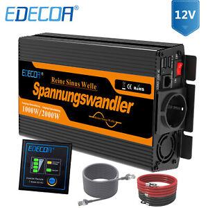 EDECOA Pur Sinus Convertisseur 1000W/2000W Onduleur 12V 220V Transformateur CE