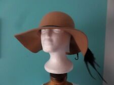 D&Y Ladies OS Wide Brim Floppy Wool Hat Camel with Braided Ribbon NWT MSRP $44