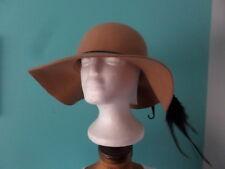 D&Y Ladies OS Wide Brim Floppy Wool Hat Camel with Braided Ribbon NWT MSRP $44