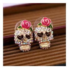 Skull Roses Crystal Earrings Gothic Stud Earrings Pink Rose Ladies Fashion Goth