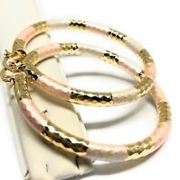 Gold Plated Tri-Color Tube Hoop Earrings Arracadas Aretes Tres Colores Tubo Oro