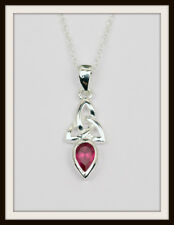 July Ruby Celtic Sterling Silver Birthstone Pendant Birthday Gift