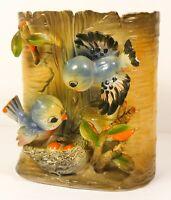 RARE Vintage Lefton BLUE BIRDS Tree Trunk COOKIE JAR Japan ESD No Lid As Is
