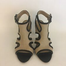 Tahari Tan And Black Fabric Leather Cutout Open Toe Pumps Sandals Size 6M