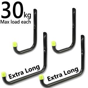 4 Set Heavy Duty Storage Hooks Garage Tool Bike Ladder Wall Long Large Brackets