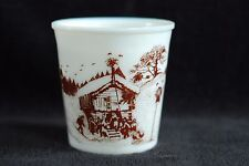 Amway Milk Glass Crock Brown Graphic of Ski Chalet in Mountains