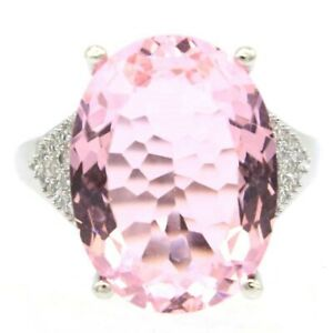 Fantastic Big Oval Gemstone 20x15mm Pink Kunzite CZ Woman's Silver Ring 8.5