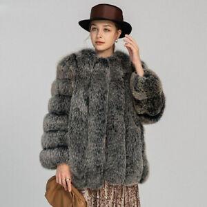 Real Natural Fur Coat Thick Fluffy Long Jacket Winter Women New Overcoat 3JS7158