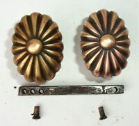 Antique Vintage Art Nouveau Victorian Ornate Small Oval Door Knobs Spindle