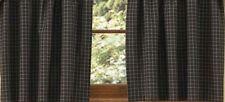 Country Folk Art Lined Panel Curtains 72WX63L Black Cotton Farmhouse Window