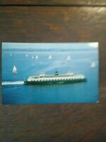 VINTAGE PHOTO POST CARD  THE M.V. EVERGREEN STATE  WASHINGTON STATE FERRIES