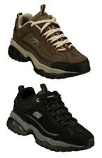 SKECHERS Men's Nubuck Leather Sneakers, Brown and Black, Medium and Extra Wide