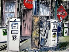 route 66 vintage gas station pen and ink drawing watercolor painting art print