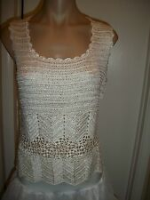 WOMENS LADIES SILK TANK TOP SHIRT HAND CROCHET KNIT SIZE  X-LARGE  IVORY  COLOR