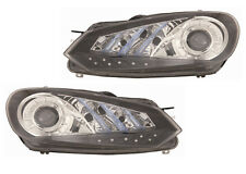 2010-2011 Volkswagen Golf Projector Headlight Assembly Pair w/LED Parking Lights