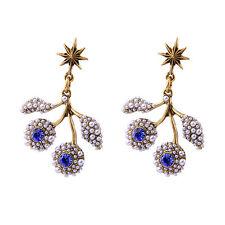Boucles d`Oreilles Clous Doré Chandelier Branche Arbre Mini Perle Bleu  XX18