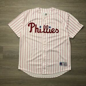 Vintage Philadelphia Phillies Jersey Mens 2XL White Short Sleeve Russell MLB