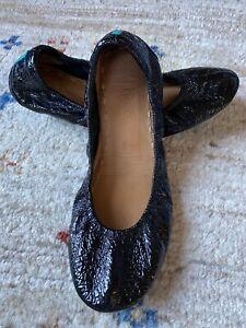 TIEKS by Gavrieli Obsidian Black Croc Leather Ballet Flats  Women Sz 5