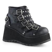 Demonia SCENE-30 Women's Black Vegan Leather Low Platform Buckled Ankle Bootie