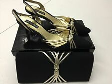 JACQUES VERT SIZE 61/2 EU 40 BLACK/GOLD LADIES SLINGBACK SHOES & MATCHING BAG 8G